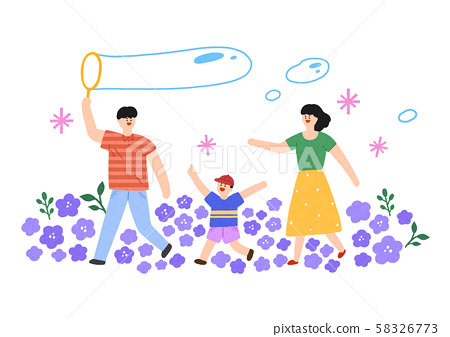 Happy loving family, spending time together in nature outdoor 007 58326773