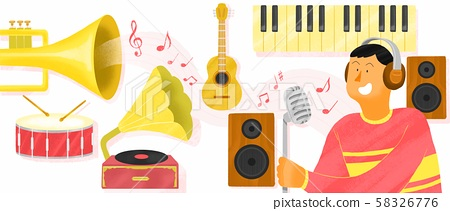 Today's people have a variety of interests concept illustration. music, medical care, pet, etc. 002 58326776