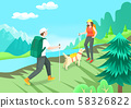 Summer vacation and traveling concept, People enjoying holiday illustration 003 58326822