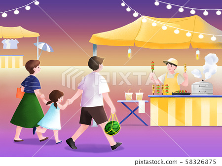 Local marketplace scene vector illustration 012 58326875