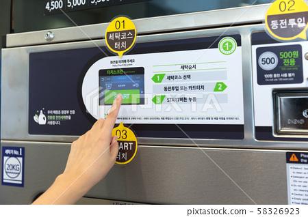 Single life concept, washing machines at laundromat 086 58326923