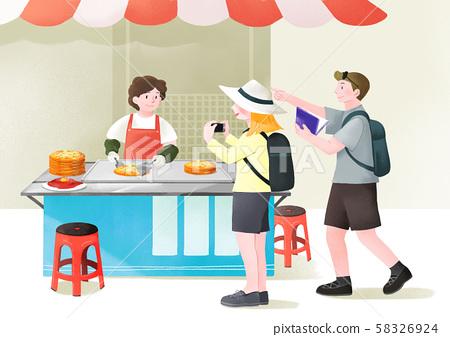 Local marketplace scene vector illustration 011 58326924
