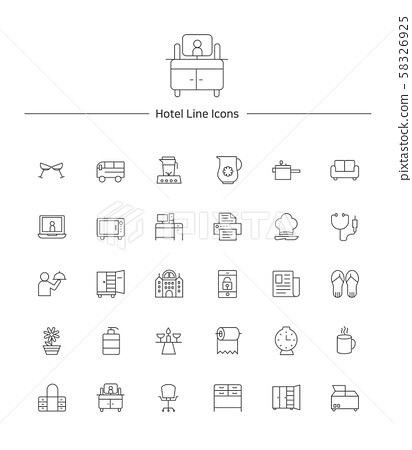 Hotel service line icon sets illustration 009 58326925