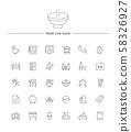 Hotel service line icon sets illustration 002 58326927