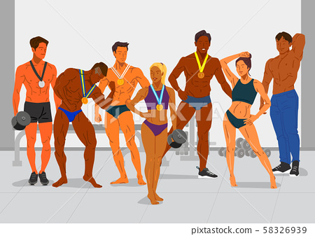 Healthy lifestyle concept, group of sports members illustration 007 58326939