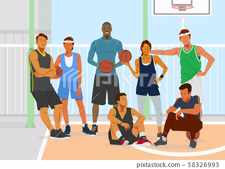 Healthy lifestyle concept, group of sports members illustration 004 58326993