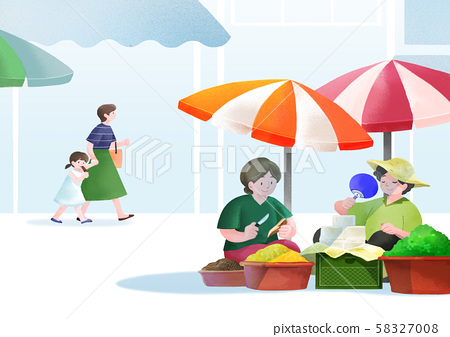 Local marketplace scene vector illustration 008 58327008