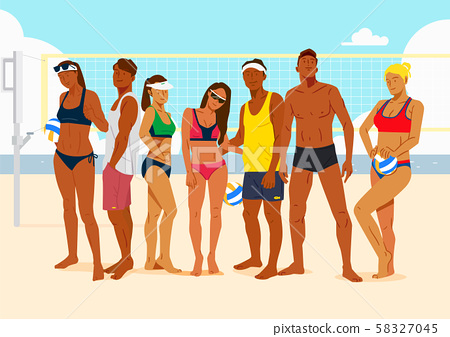 Healthy lifestyle concept, group of sports members illustration 005 58327045