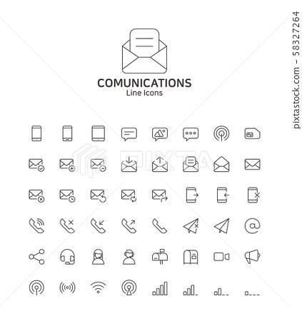 Modern thin line flat design icons set for website and app design 047 58327264