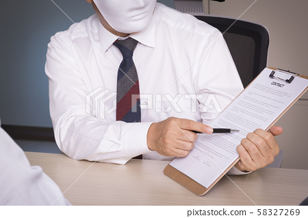 Criminal concept photo, Industrial espionage with masked businessman 118 58327269
