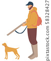 Hunting Dog Pointer Isolated Cartoon Animal Vector 58328427