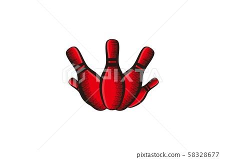 hand drawn bowling pin logo Designs Inspiration 58328677