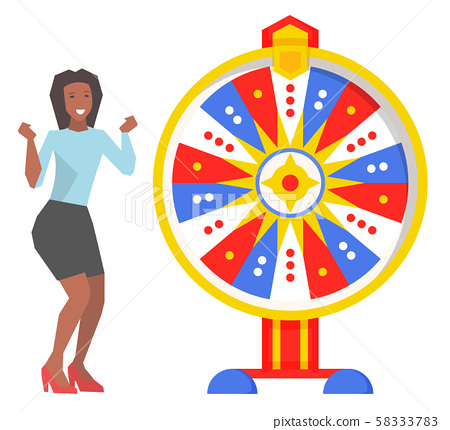 Fortune Wheel and Excited Woman, Game and Roulette 58333783