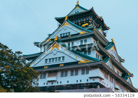 Osaka Castle in autumn season ,one of the most 58334119