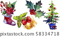 Christmas winter holiday symbol isolated. Watercolor background set. Isolated christmas illustration 58334718