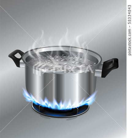 Stainless steel pot boiling water. On the gas stove. Vector realistic file. 58334843