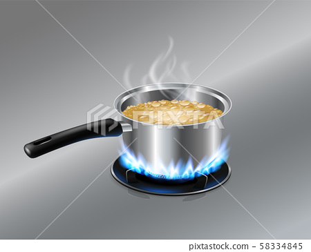 Stainless steel Soup pot boiling water On the gas stove. Vector realistic file. 58334845