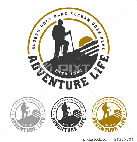 Mountain logo, camping and hiking emblem design, 58335604