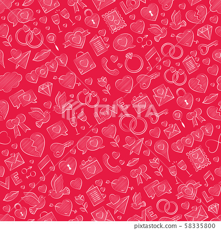 Hand drawn seamless love pattern vector white illustration with chalk colored filling red background 58335800