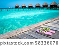 Sandals on the beautiful beach - summer vacation 58336078