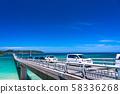 <Yamaguchi Prefecture> Tsunoshima Bridge in summer 58336268