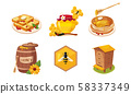 Honey and Beekeeping Elements Set, Honeycomb, Toast Bread Slice, Jar and Barrel of Honey, Stack of 58337349
