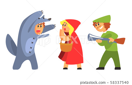 Little Red Riding Hood Wolf And Hunhter Funny Stock