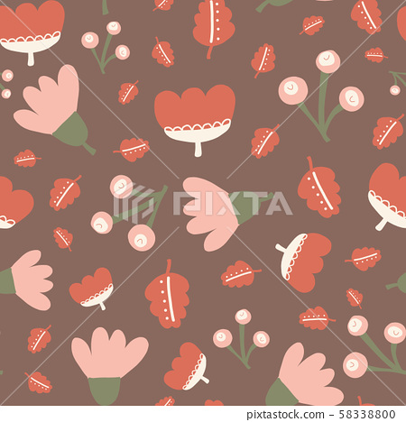 Abstract scattered florals seamless vector doodle background pink orange red green white rusty brown 58338800