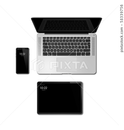 Laptop, tablet and phone set mockup isolated on 58339756