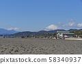 湘南平塚海岸的富士山 58340937