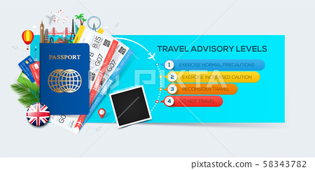 Banner for tourism with passport, tickets and famous landmarks. 58343782