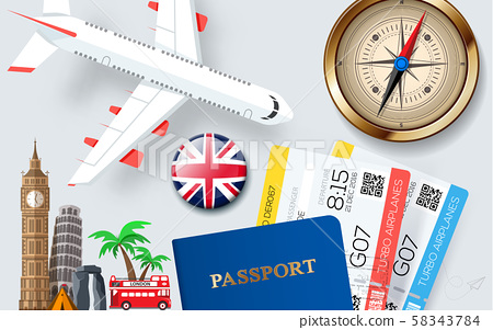 Banner concept for travel and tourism with vacation items accessories and landmarks. 58343784