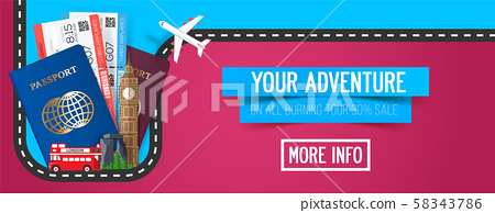 Colorful travel composition. Travel and Tourism banner. 58343786