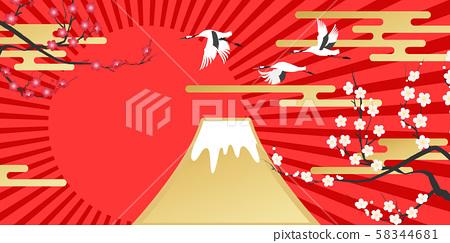 富士山(新年影像素材) 58344681