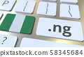 Nigerian domain .ng and flag of Nigeria on the buttons on the computer keyboard. National internet 58345684