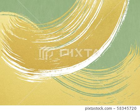 Background-Japanese-Japanese style-Japanese pattern-Japanese paper-Gold leaf-Wave-Brush-Green 58345720