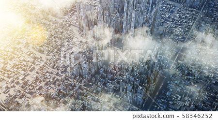 Aerial view of futuristic sci-fi city and commercial office building . 3d illustration rendering . 58346252