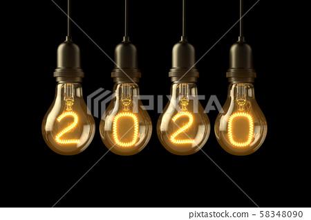 Christmas lamp light bulbs Illuminated new year 2020 on black background. 3D illustration 58348090