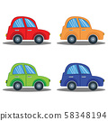 Colorful car set in flat design isolated on white background. 58348194