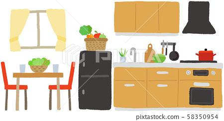 室內廚房和餐廳 58350954