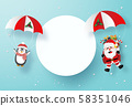 Origami paper art of Santa Claus and Penguin make a parachute jump with blank space, Merry Christmas and Happy New Year 58351046