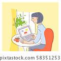 컴퓨터를 조작하는 여성 58351253