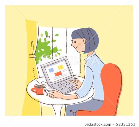 操作個人電腦的女人 58351253