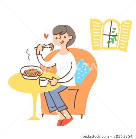 吃麵團的婦女 58351254