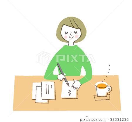 여성 편지 쓰기 58351256