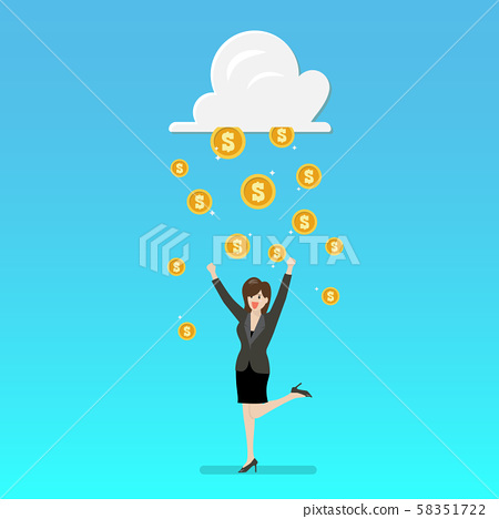 Success business woman with cloud and money rain 58351722
