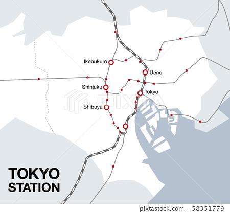 東京23區地圖地圖插圖地圖素材 58351779