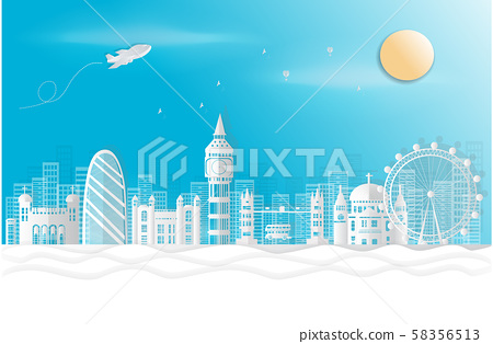 London, England With views of famous landmarks and world-class cities, tourism poster illustrations Paper cutting,Panorama of top world famous landmark of London - vector 58356513