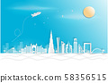 Dubai city in a panoramic view with the city skyline with important landmarks and world famous Vector style paper cut-  illustration Vector 58356515