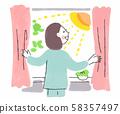 女人在早上打開窗簾 58357497